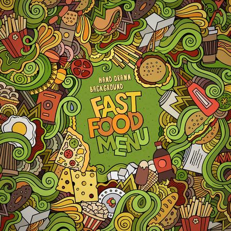 comida rapida: Comida rápida doodles fondo elementos de marco. Ilustración vectorial