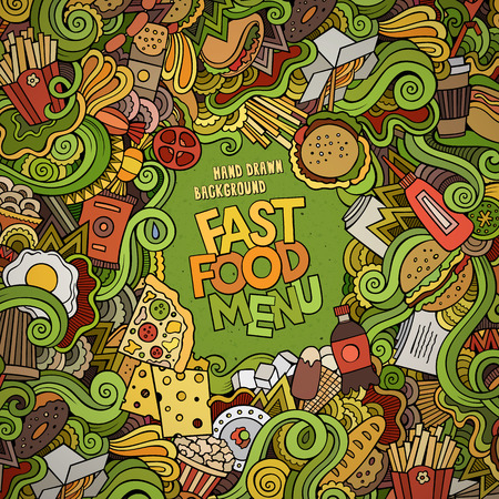 food supply: Fast food doodles elements frame background. Vector illustration