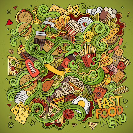 plato de comida: Comida rápida garabatos elementos de fondo. Ilustración vectorial