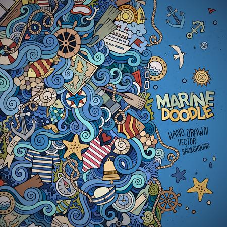 Doodles abstracto decorativo del vector de la frontera marina náutica Foto de archivo - 41699000