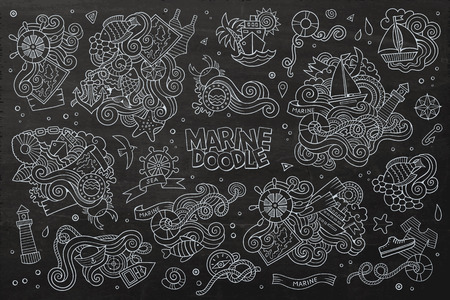 scuttle: Marine nautical chalkboard hand drawn vector symbols and objects