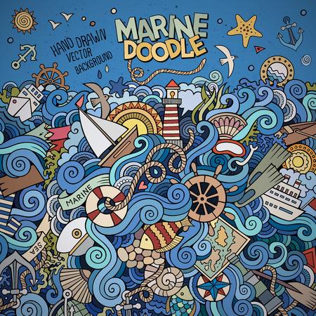 timon barco: Doodles abstracto decorativo del vector de la frontera marina náutica