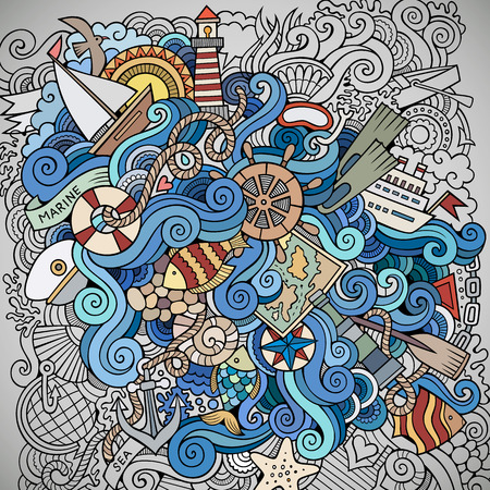sail fin: Doodles abstract decorative marine nautical vector background