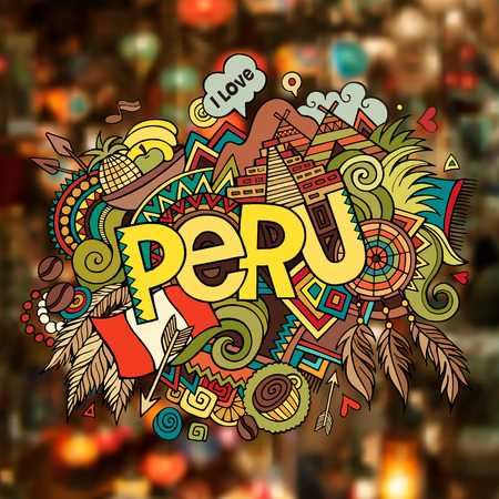 Peru hand lettering and doodles elements background. Vector illustration