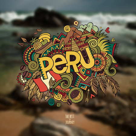 summer festival: Peru hand lettering and doodles elements background. Vector illustration Illustration