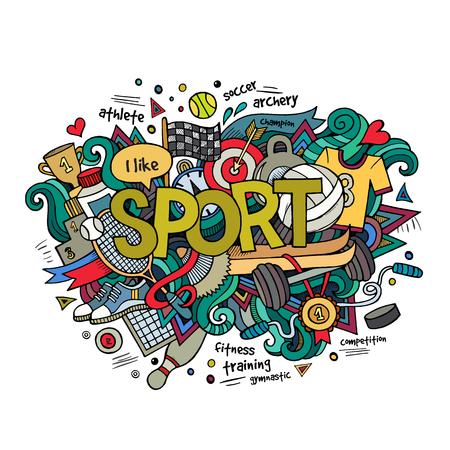 Sport hand lettering and doodles elements background. Vector illustration