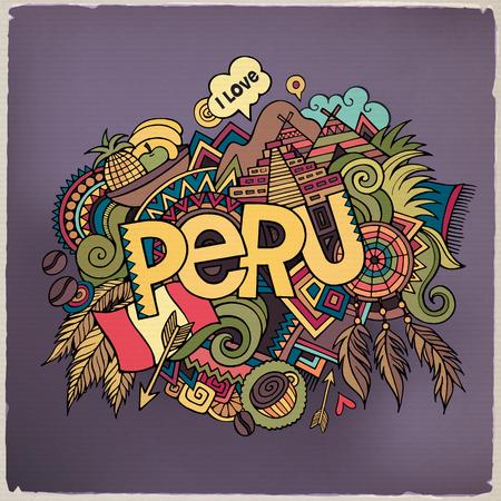 banderas america: Mano letras Perú y garabatos elementos de fondo. Ilustración vectorial Vectores