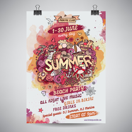 Vector summer doodles watercolor paint party poster design
