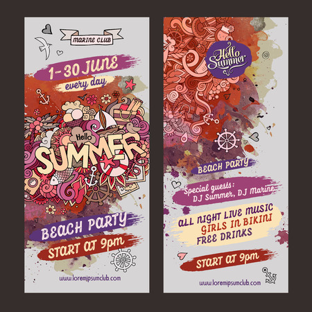 music dj: Vector summer doodles watercolor paint party flyer design Illustration