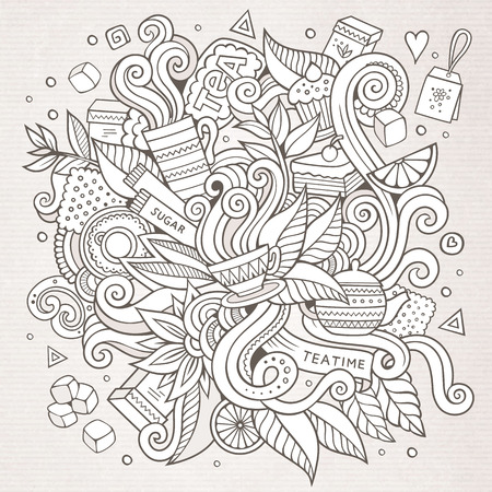 coffee leaf: Cartoon vector sketchy doodles hand drawn tea time background