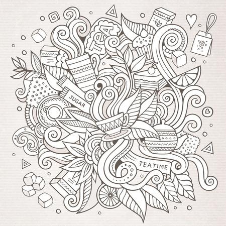 limon caricatura: Vector de dibujos animados garabatos lado chungo fondo hora del té elaborado Vectores