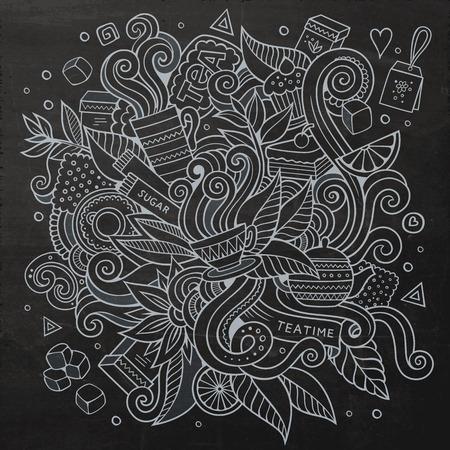 ceylon: Cartoon vector sketchy doodles hand drawn tea time chalkboard background