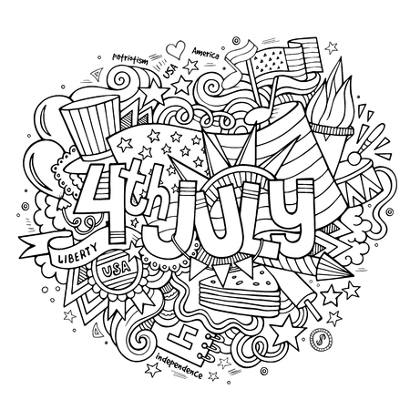 4th July Independence Day hand lettering and doodles elements background. Vector illustration