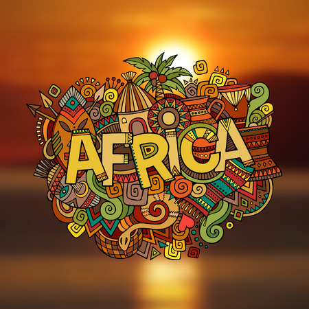 cartoon warrior: Africa hand lettering and doodles elements background. Vector illustration