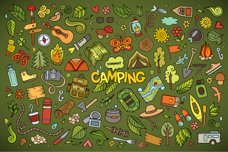Camping nature hand drawn vector symbols and objects Çizim