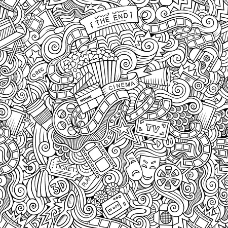 holiday blockbuster: Cartoon vector doodles hand drawn cinema seamless pattern