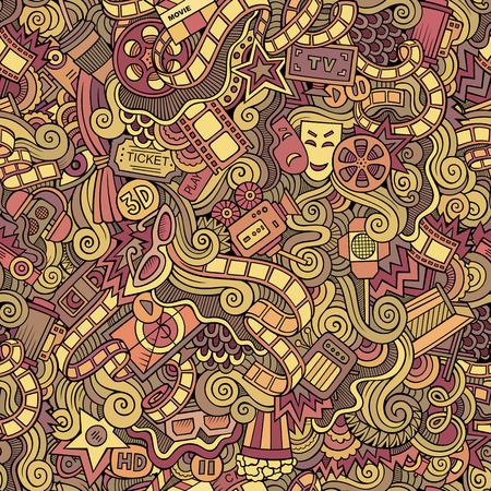 cine: Cartoon vector doodles hand drawn cinema seamless pattern
