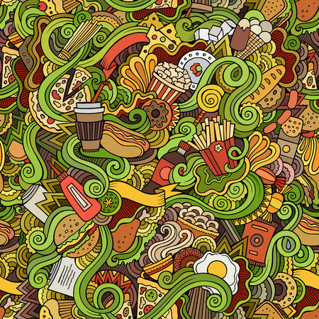 delicious food: Seamless hand drawn doodles abstract fast food pattern Illustration