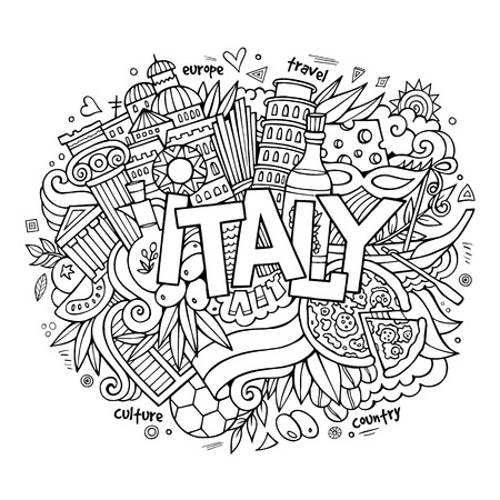 italia: Italy hand lettering and doodles elements background. Vector illustration Illustration