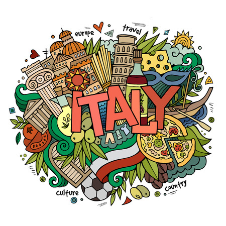 Italy hand lettering and doodles elements background. Vector illustration Çizim