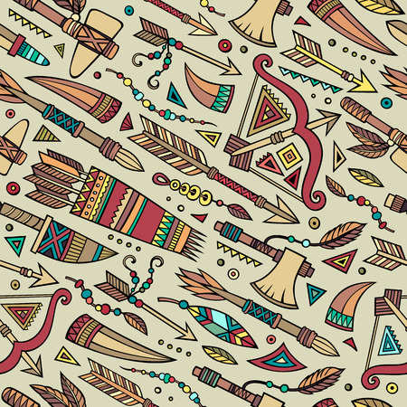 weapons: Tribal abstract native ethnic vector seamless pattern