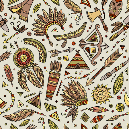 feathery: Tribal abstract native ethnic vector seamless pattern