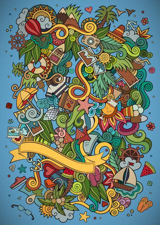 maillot de bain: Doodles abstrait cadre vecteur été décorative. conception de la carte de voeux