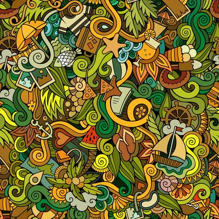 bikini cartoon: Seamless abstract pattern summer and travel background Illustration
