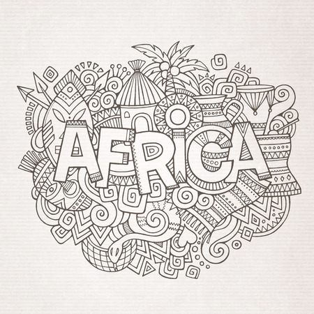 african mask: Africa ethnic hand lettering and doodles elements and symbols background. Vector hand drawn sketchy illustration Illustration
