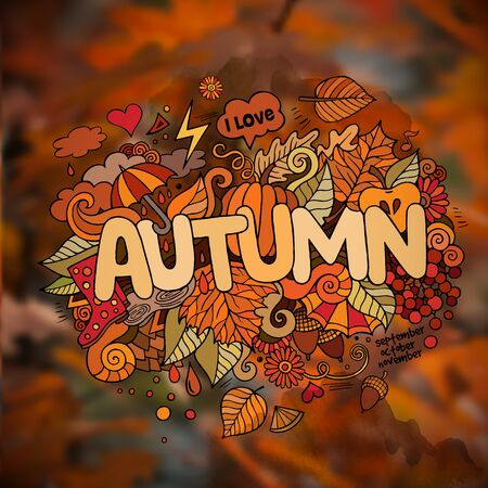 rain cartoon: Autumn season hand lettering and doodles elements and symbols emblem. Vector blurred background Illustration