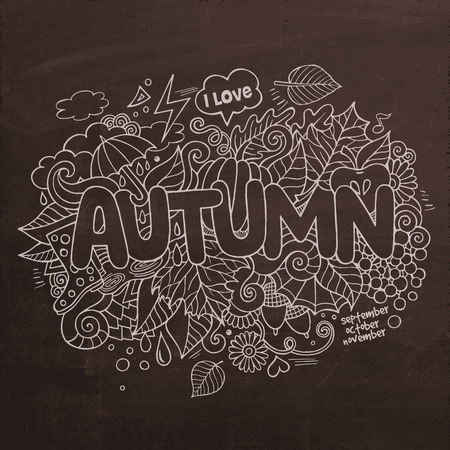 cartoon umbrella: Autumn Vector hand lettering and doodles elements chalkboard background Illustration