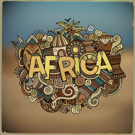 lanscape: Africa ethnic hand lettering and doodles elements and symbols background. Vector  blurred lanscape illustration