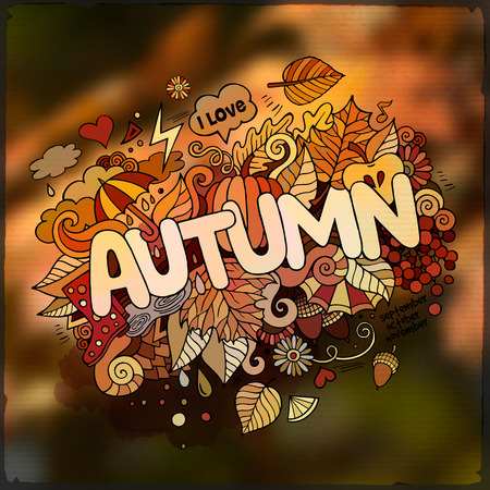 autumn season: Autumn season hand lettering and doodles elements and symbols emblem. Vector blurred background Illustration