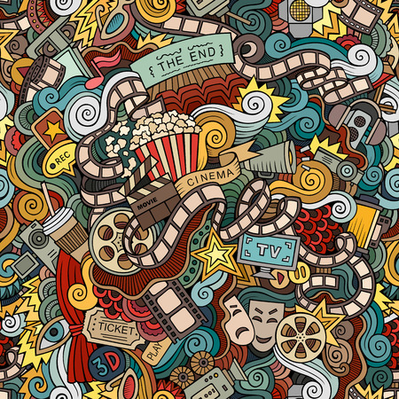 estrella caricatura: Mano doodles historieta dibujada cine, película sin patrón. Vector fondo sin fin Vectores