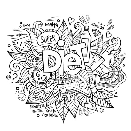 hand illustration: Diet hand lettering and doodles elements and symbols background. Vector hand drawn sketchy illustration Illustration