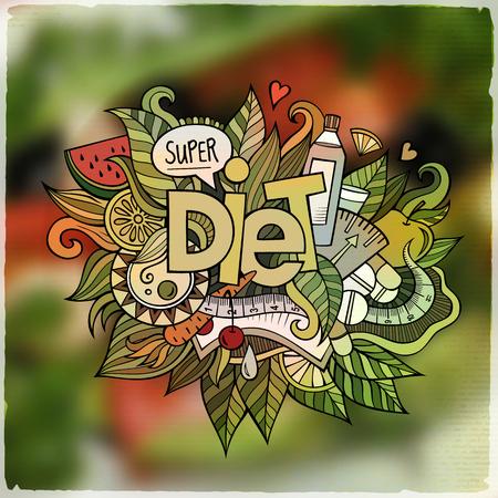 cooking food: Diet hand lettering and doodles elements and symbols emblem. Vector blurred background Illustration