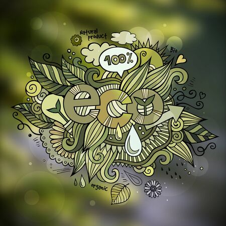 eco: Eco hand lettering and doodles elements and symbols emblem. Vector blurred background