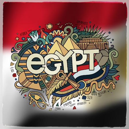 flag of egypt: Egipto letras de la mano pa�s y doodles elementos y s�mbolos emblema. Vector bandera de fondo borroso Vectores