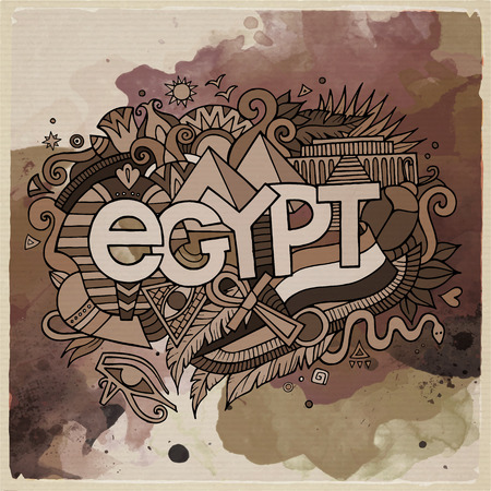 cartoon bug: Egypt country hand lettering and doodles elements and symbols emblem. Vector watercolor stains background Illustration