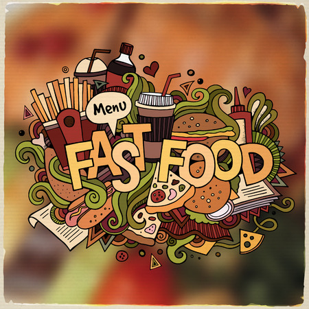 food and beverages: Fastfood hand lettering and doodles elements and symbols emblem. Vector blurred background