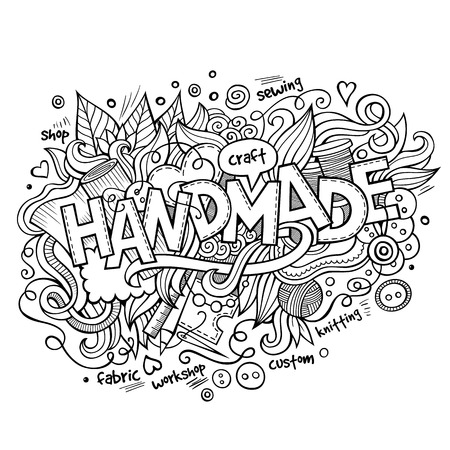 sketchy illustration: Handmade hand lettering and doodles elements and symbols background. Vector hand drawn sketchy illustration