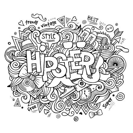 sketchy illustration: Hipster hand lettering and doodles elements and symbols background. Vector hand drawn sketchy illustration Illustration