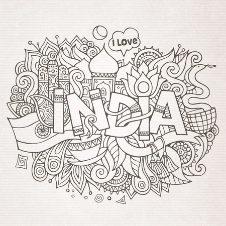 sketchy illustration: India country hand lettering and doodles elements and symbols background. Vector hand drawn sketchy illustration