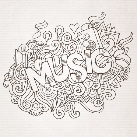 Music hand lettering and doodles elements and symbols background. Vector hand drawn sketchy illustration Vettoriali