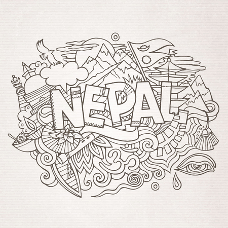 himalaya: Nepal country hand lettering and doodles elements and symbols background. Vector hand drawn sketchy illustration
