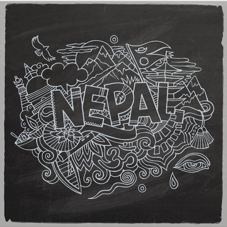 himalaya: Nepal country hand lettering and doodles elements and symbols background. Vector hand drawn chalkboard illustration