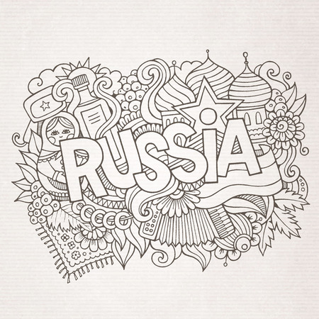 matreshka: Russia hand lettering and doodles elements background. Vector illustration