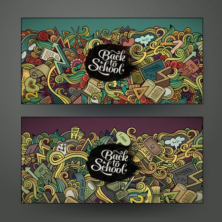 Vector design banner templates set with doodles school education theme