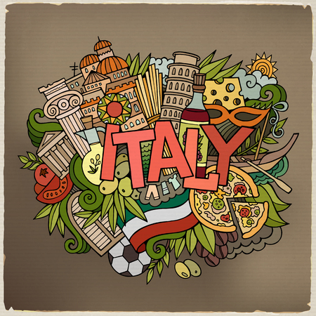 sketchy illustration: Italy country hand lettering and doodles elements and symbols background. Vector hand drawn sketchy illustration