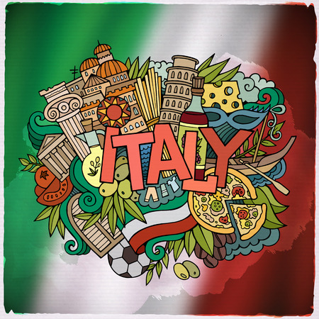 Italy country hand lettering and doodles elements and symbols emblem. Vector blurred flag background Çizim